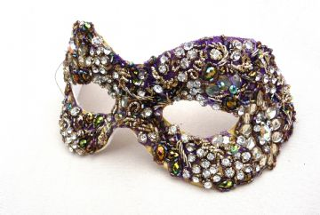 Baroque style Purple & Gold coloured beaded masquerade mask
